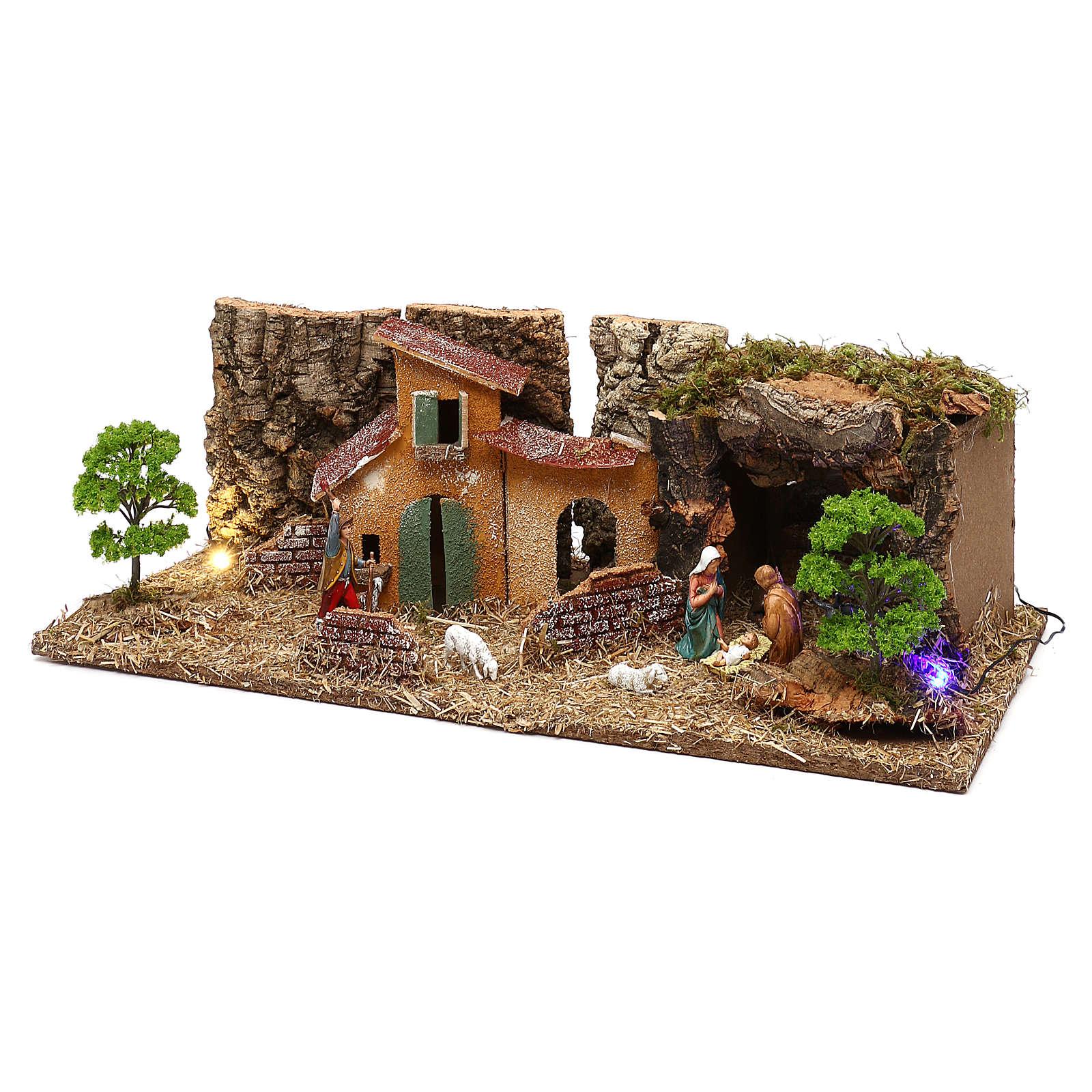 Grotte avec maisons et nativité crèche 7 cm 4