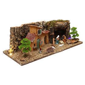 Grotte avec maisons et nativité crèche 7 cm s3