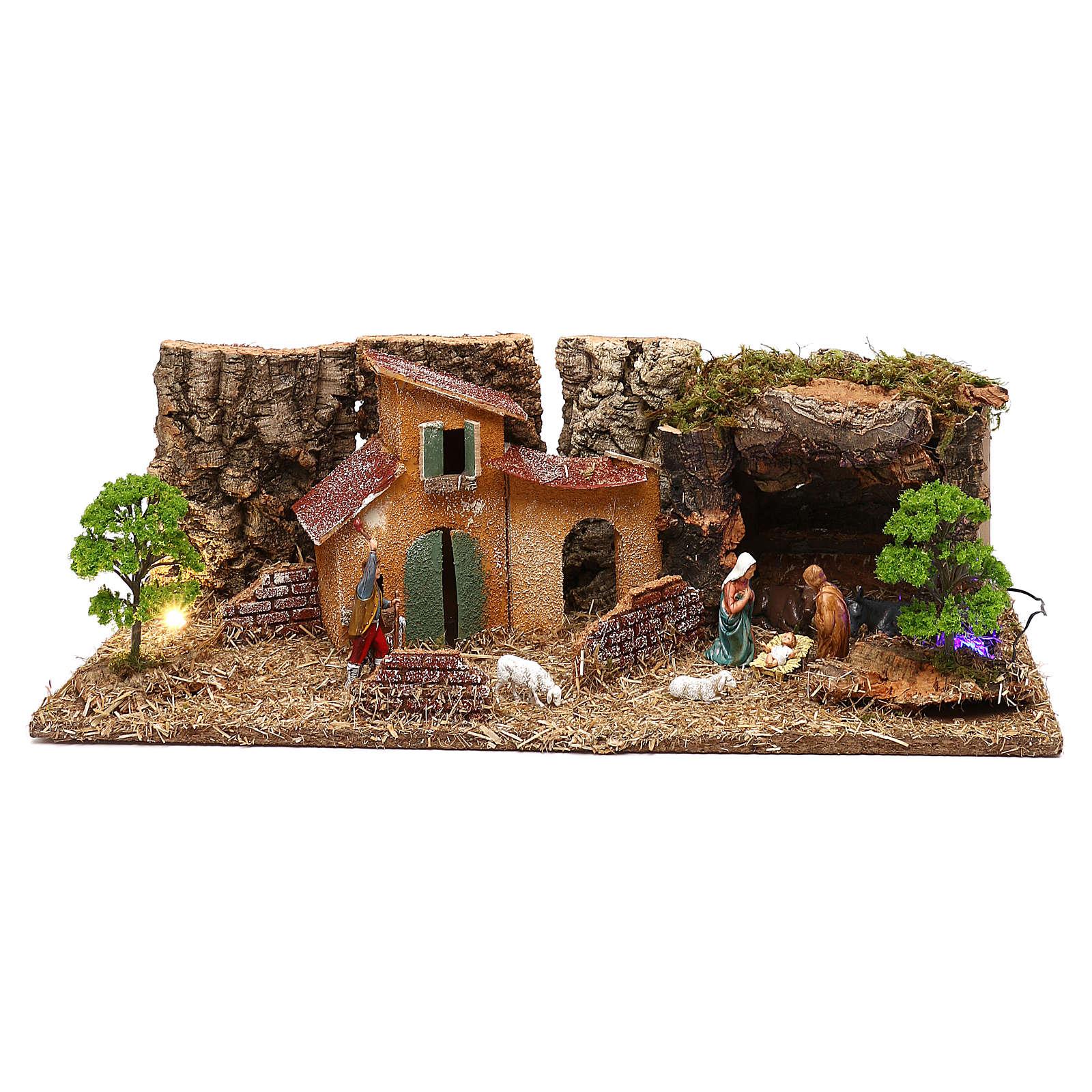 Grotta con casette e natività presepe 7 cm 4