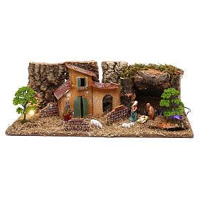Grotta con casette e natività presepe 7 cm s1