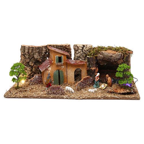 Grotta con casette e natività presepe 7 cm 1