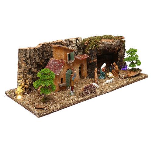 Grotta con casette e natività presepe 7 cm 3