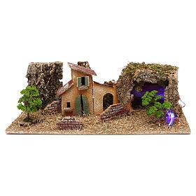 Grotte avec maisons crèche 7 cm s1