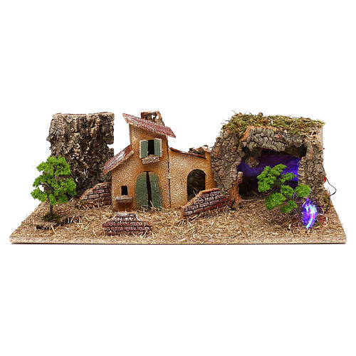 Grotte avec maisons crèche 7 cm 1