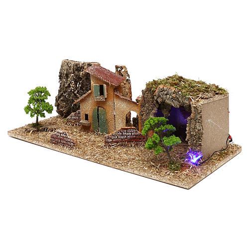Grotte avec maisons crèche 7 cm 2