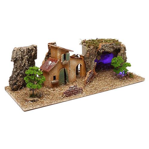 Grotte avec maisons crèche 7 cm 3