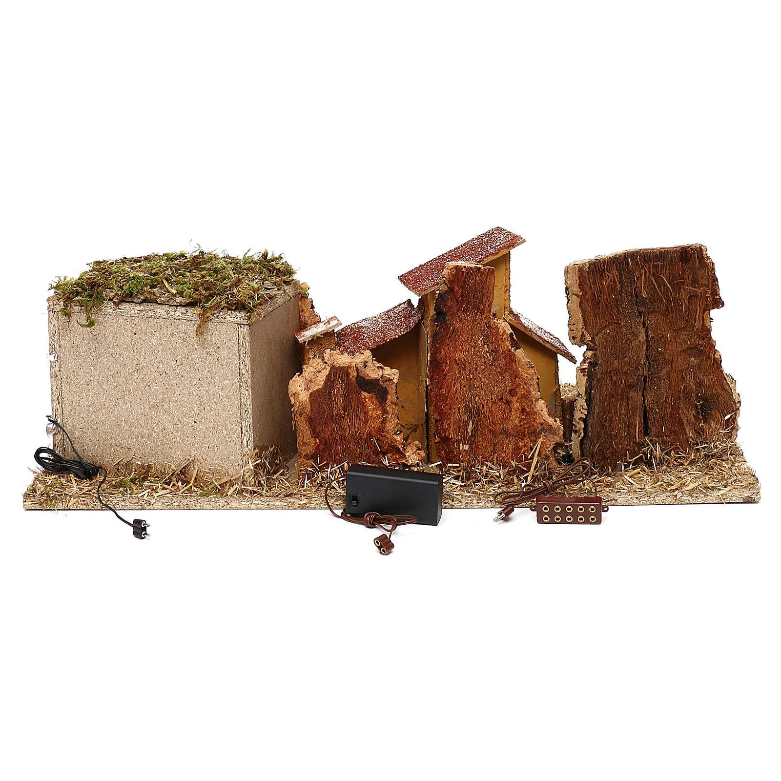 Grotta con casette presepe 7 cm 4