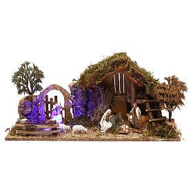 Cabaña con arco nocturno y natividad belén 10 cm Moranduzzo s1
