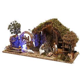 Cabaña con arco nocturno y natividad belén 10 cm Moranduzzo s2