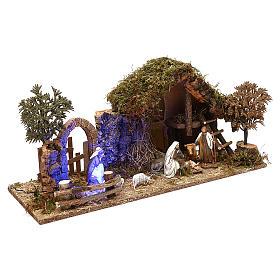 Cabaña con arco nocturno y natividad belén 10 cm Moranduzzo s3