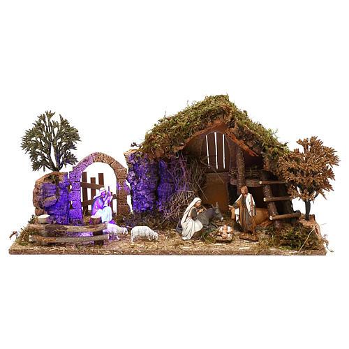 Cabaña con arco nocturno y natividad belén 10 cm Moranduzzo 1