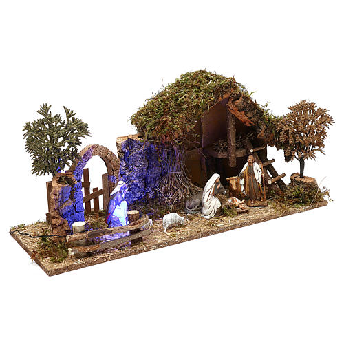 Cabaña con arco nocturno y natividad belén 10 cm Moranduzzo 3