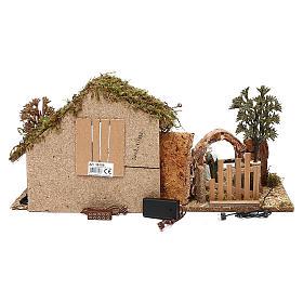 Cabane avec arc et nativité effet nuit crèche 10 cm Moranduzzo s4