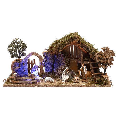 Cabane avec arc et nativité effet nuit crèche 10 cm Moranduzzo 1