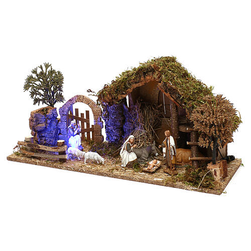 Stable with arch nighttime and 10 cm Nativity scene Moranduzzo 2