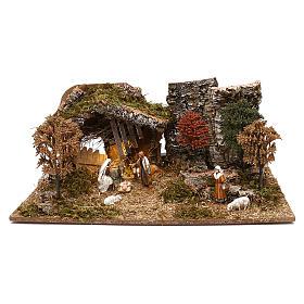 Étables crèche et Grottes: Cabane avec arbres et nativité crèche 10 cm Moranduzzo