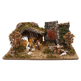 Cabanas e Grutas para Presépio: Cabana com árvores e natividade para presépio Moranduzzo com figuras de 10 cm de altura média