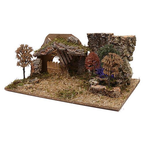 Cabane avec arbres crèche 10 cm 2