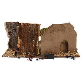 Capanna con alberi presepe 10 cm s3