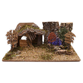 Cabanas e Grutas para Presépio: Cabana com árvores para presépio com figuras de 10 cm de altura média