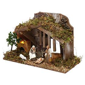 Cabaña con horno y natividad belén 10 cm Moranduzzo s2