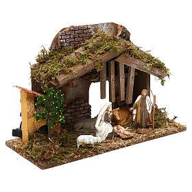 Cabaña con horno y natividad belén 10 cm Moranduzzo s3