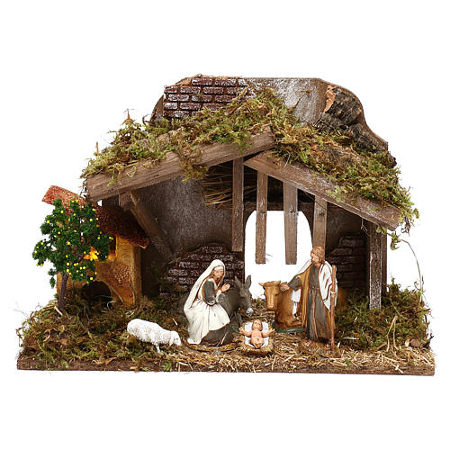 Cabaña con horno y natividad belén 10 cm Moranduzzo 1