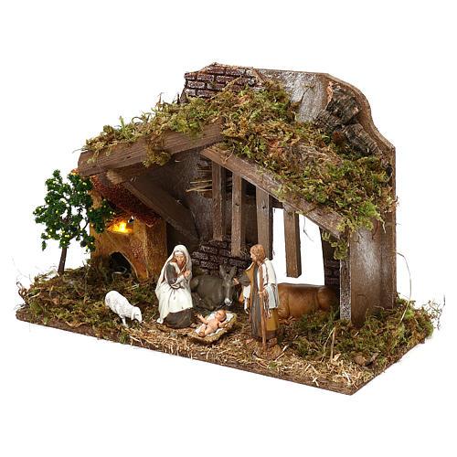 Cabaña con horno y natividad belén 10 cm Moranduzzo 2