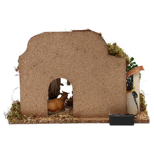 Cabane avec four et nativité crèche 10 cm Moranduzzo 4
