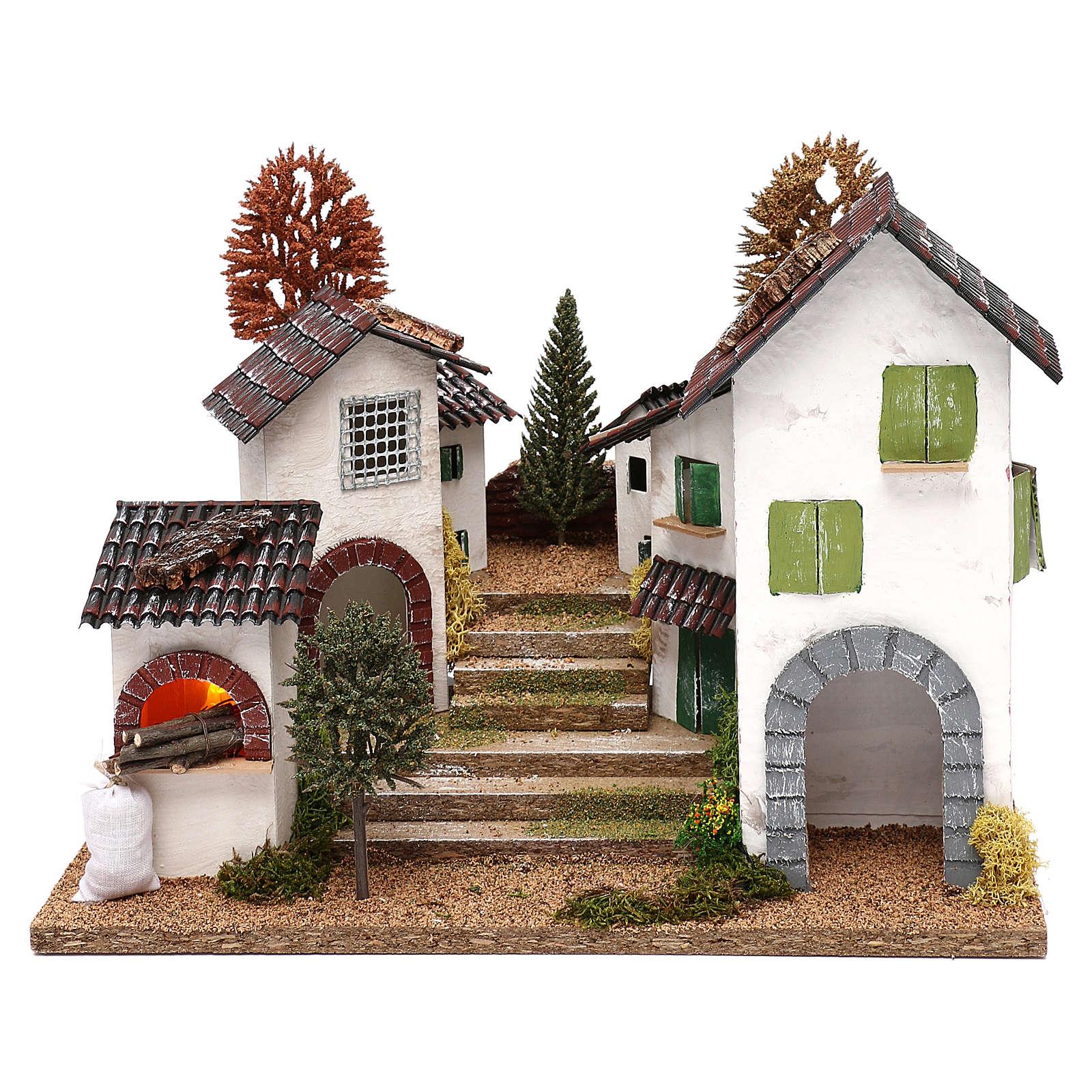 Pueblo con escalera, horno y luces belén 8-9 cm efecto nocturno 4