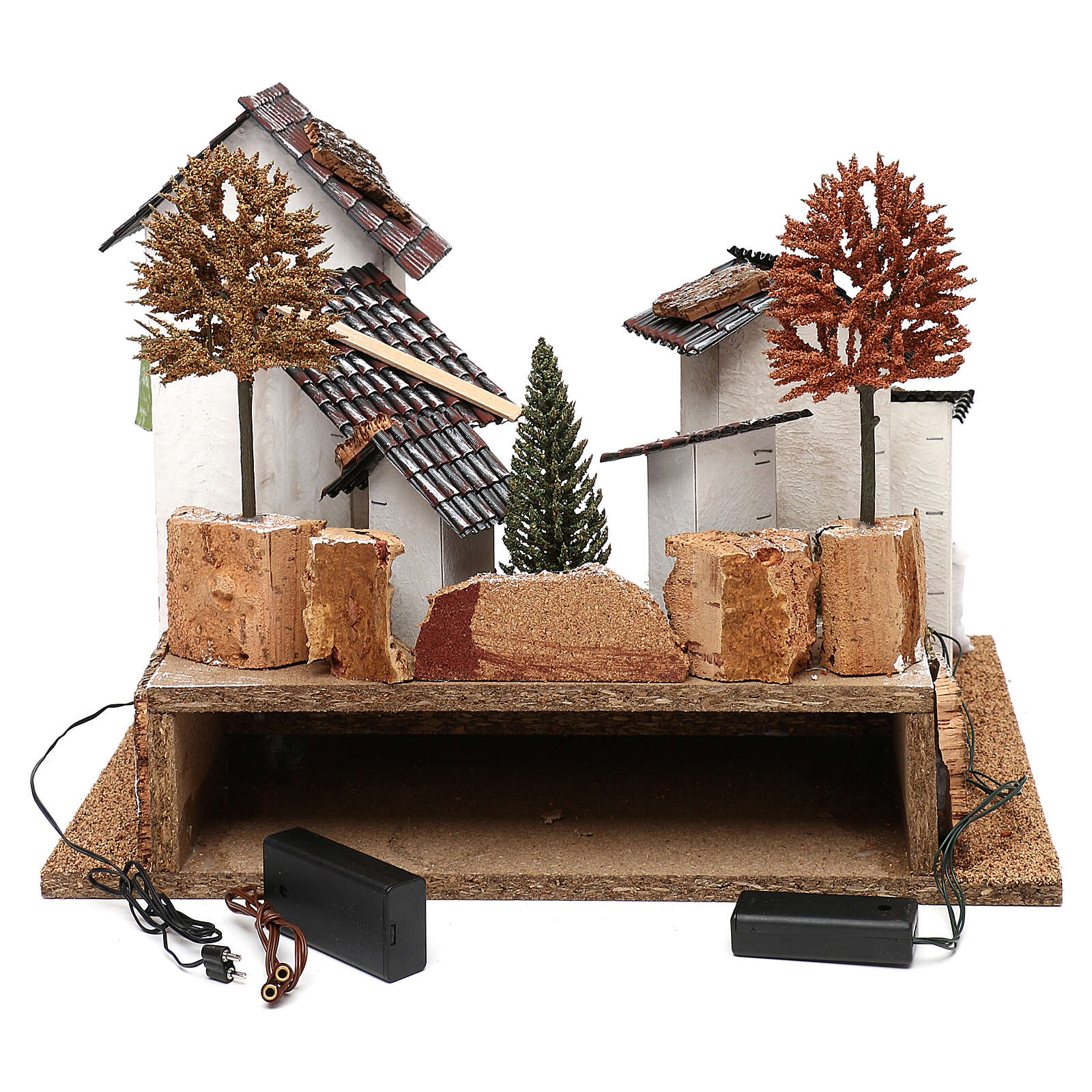 Village with staircase, oven and lights for nativity 8-9 cm 4