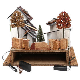 Village with staircase, oven and lights for nativity 8-9 cm s4
