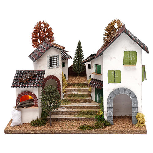 Village with staircase, oven and lights for nativity 8-9 cm 1