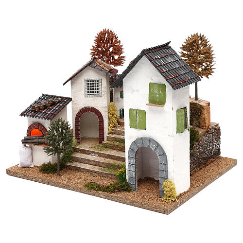 Village with staircase, oven and lights for nativity 8-9 cm 2