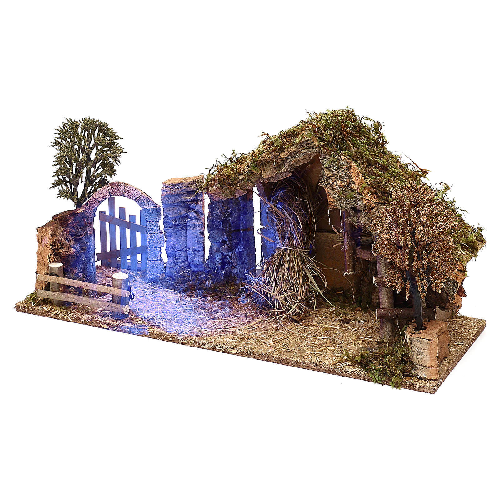 Cabaña con arco nocturno belén 10 cm 4