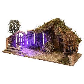 Cabaña con arco nocturno belén 10 cm s2