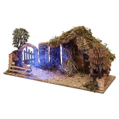 Cabaña con arco nocturno belén 10 cm 2
