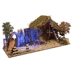 Cabane avec arc effet nocturne crèche 10 cm s3