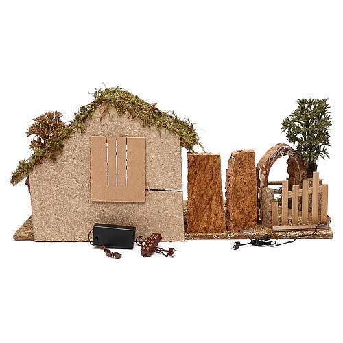 Cabane avec arc effet nocturne crèche 10 cm 4