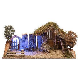 Cabanas e Grutas para Presépio: Cabana com arco efeito nocturno para presépio com figuras de 10 cm de altura média