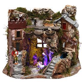 Grotte avec fontaine nativité crèche 8 cm Moranduzzo s1