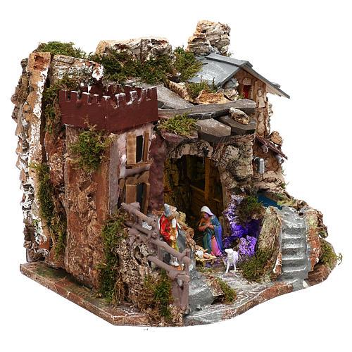 Grotte avec fontaine nativité crèche 8 cm Moranduzzo 3