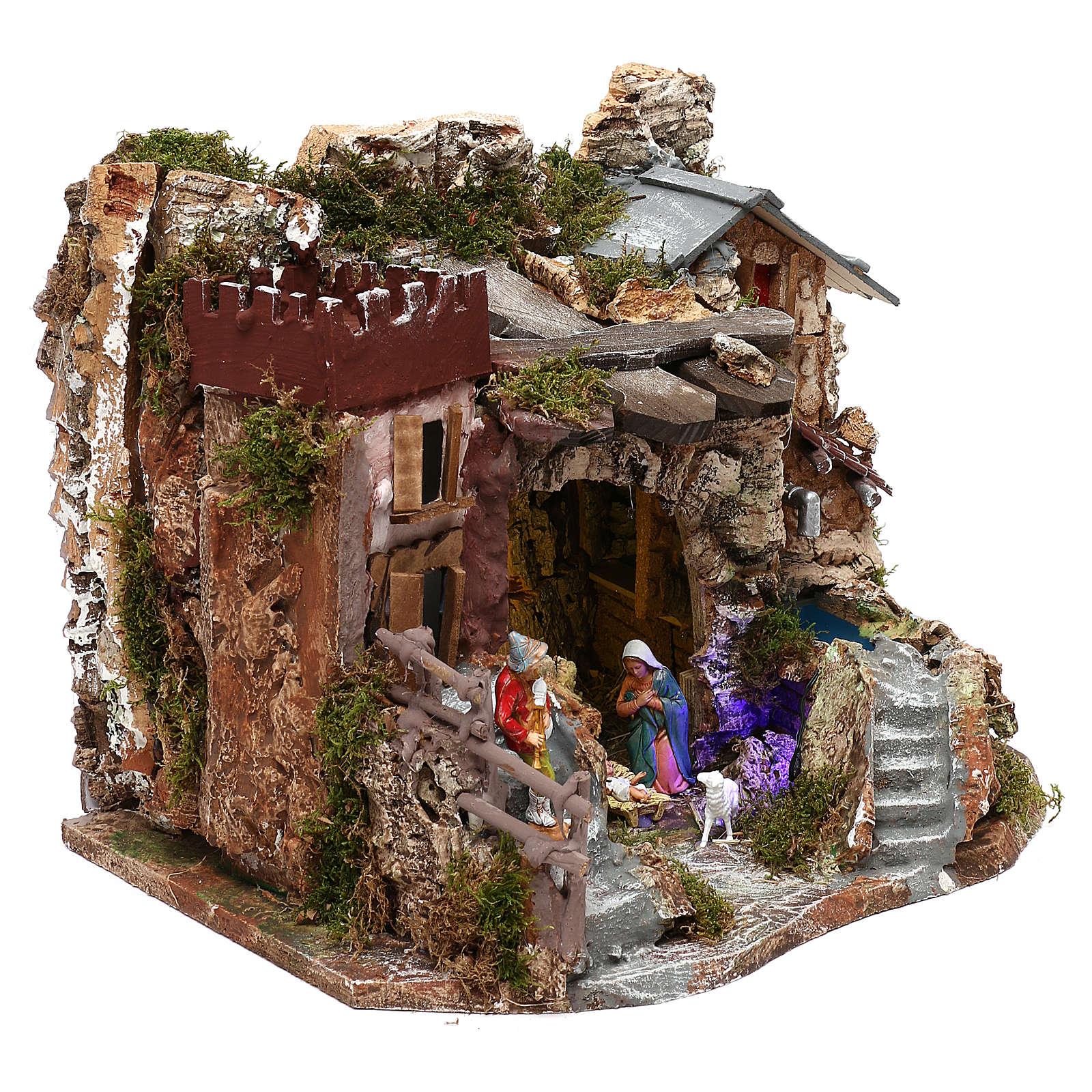 Grotta con fontana natività presepe 8 cm Moranduzzo 4