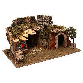Grotte avec chalet four crèche 12 cm s2