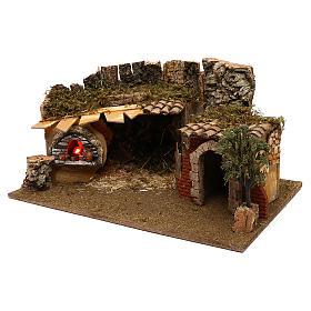 Grotte avec chalet four crèche 12 cm s3