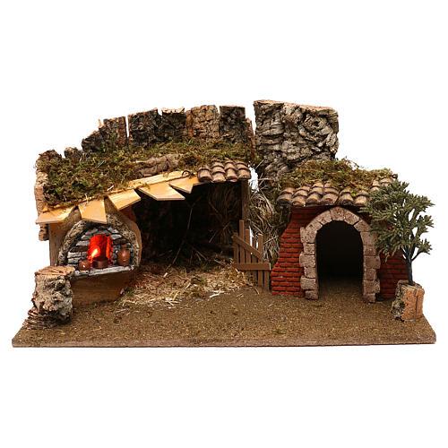 Grotte avec chalet four crèche 12 cm 1