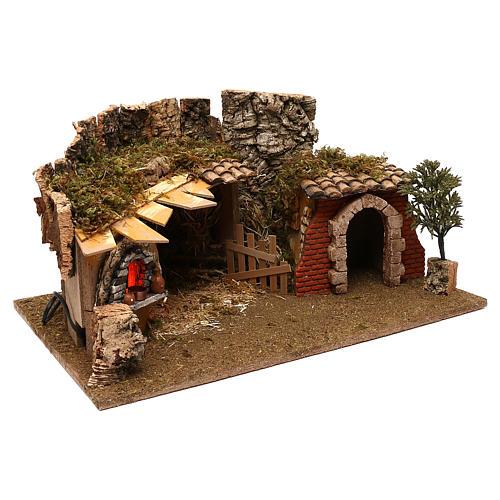 Grotte avec chalet four crèche 12 cm 2