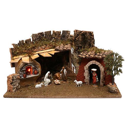 Grotte avec chalet four nativité et crèche 12 cm Moranduzzo 1