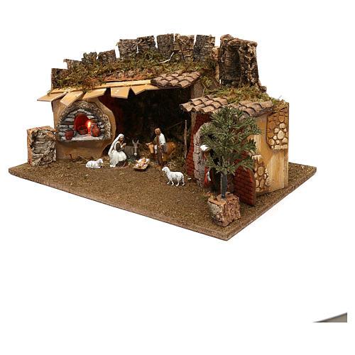 Grotte avec chalet four nativité et crèche 12 cm Moranduzzo 2