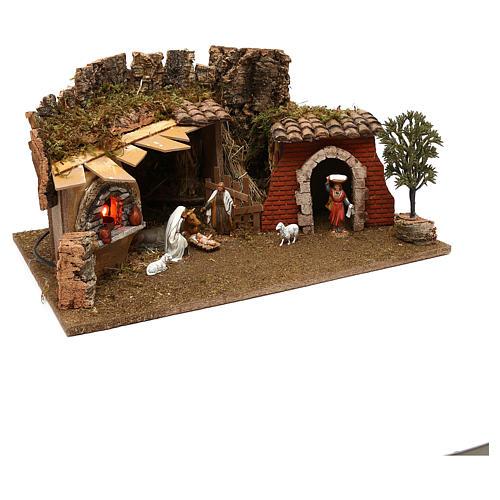Grotte avec chalet four nativité et crèche 12 cm Moranduzzo 3
